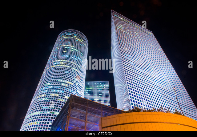 The Azrieli towers at night , Tel Aviv Israel - Stock Image
