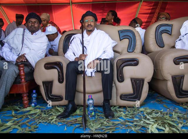 Oromia state president Lemma Megerssa during the Gada system ceremony in Borana tribe, Oromia, Yabelo, Ethiopia - Stock-Bilder
