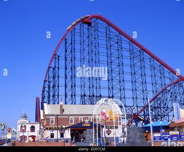 Blackpool Pleasure Beach, Ocean Boulevard, Blackpool, Lancashire, England, United Kingdom - Stock Image