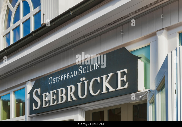 Sign at the entrance of the restaurant on the pier of Sellin, Ruegen Island, Mecklenburg-Western Pomerania, Germany, - Stock-Bilder