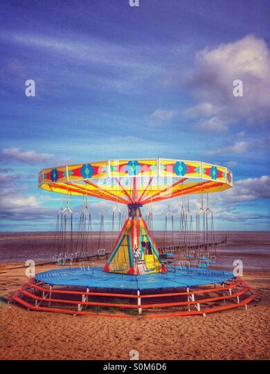 End of season beach amusements - Stock Image