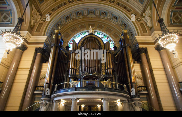 Willis Organ in the Great Hall, St Georges Hall, Liverpool, Merseyside, England, UK - Stock Image