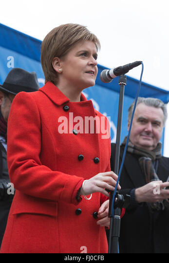 London, UK. 27 February 2016. Nicola Sturgeon, First Minister of Scotland, SNP, speaks at the rally.  Anti-Trident - Stock Image