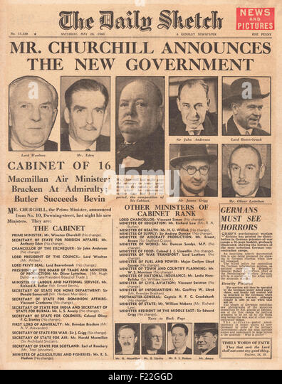 1945 Daily Sketch front page reporting   Churchill Announces New Caretaker Government - Stock Image