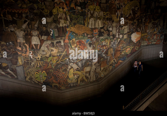 Tourists pass a mural by Mexican artist Diego Rivera at the National Palace in Mexico City, May 16, 2008. Photo/Chico - Stock Image