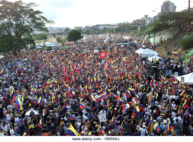 Venezuelans protest against President Hugo Chavez in Caracas January  25. 2003. Ten of thousands of opponents of - Stock Image