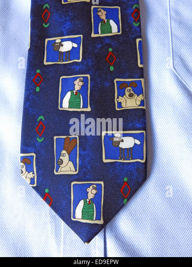 Interesting Wallace & Grommet comedy tie, male neckware in silk - Stock Image
