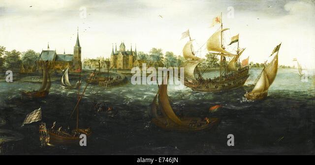Ships at IJselmonde - by Aert Anthonisz, 1617 - Stock Image