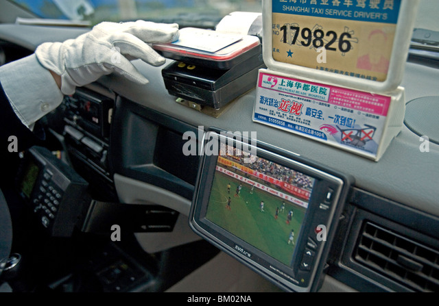 Taxi Shanghai, paying with plastic money, reciept, electronic, cash card - Stock-Bilder