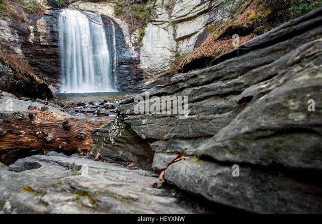 Looking Glass Falls - Pisgah National Forest - near Brevard, North Carolina USA - Stock Image