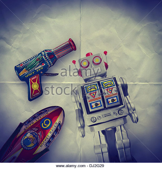 space toys paper backdrop - Stock Image