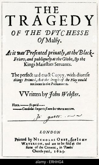 John Webster 's play The Tragedy of the Duchess of Malfi. (Dutchesse of Malfy) . Titlepage. Published in London, - Stock Image