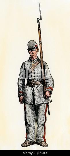 Confederate infantryman, American Civil War - Stock Image