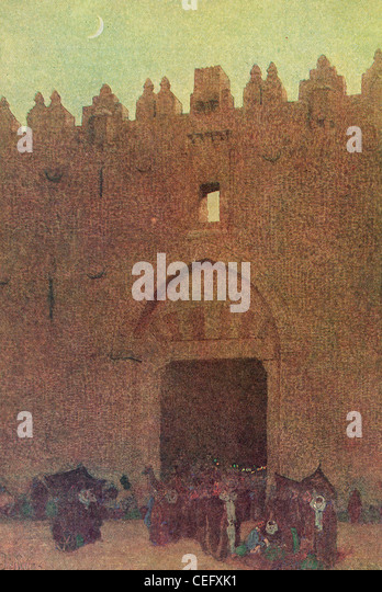 "Plate 3, ""The Damascus Gate, Jerusalem,"" by Jules Guerin, 1920, J. H. Jansen, Cleveland, Publisher. - Stock Image"