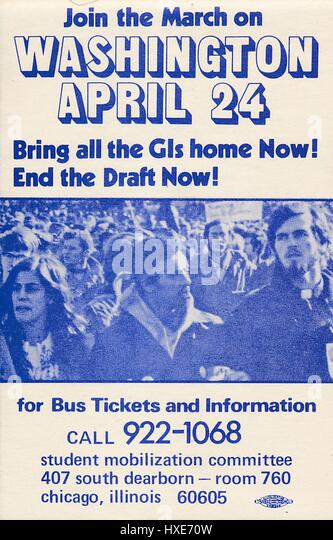 Vietnam War era leaflet from Student Mobilization Committee titled 'March on Washington' advocating for - Stock Image