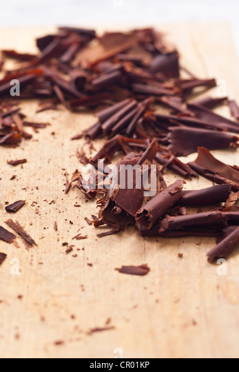Close up of chocolate shavings - Stock Image