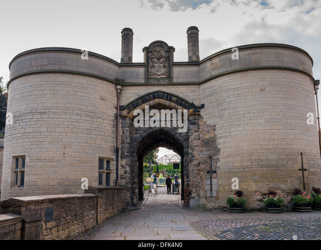 The entrance to Nottingham Castle, United Kingdom - Stock Image