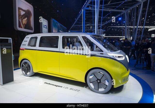 Volkswagen I.D. Buzz electric bus concept at 87th Geneva International Motor Show in Geneva Switzerland 2017 - Stock Image