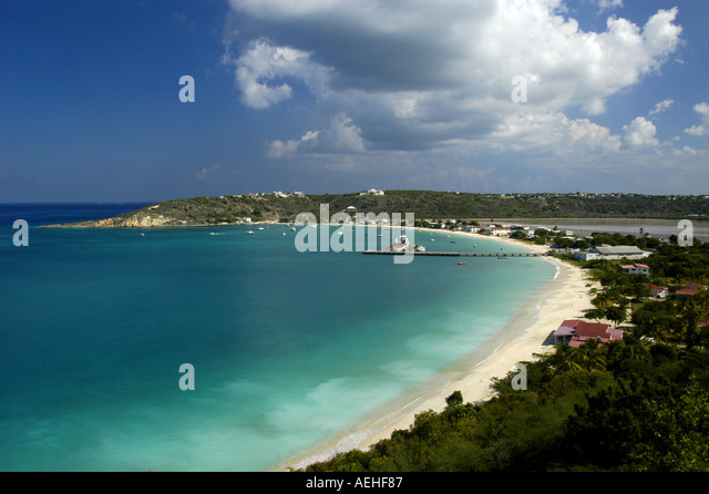 Anguilla Harbour at Sandy Ground - Stock Image