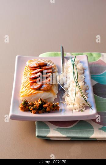 Chorizo Pollock with Pilau Rice - Stock Image