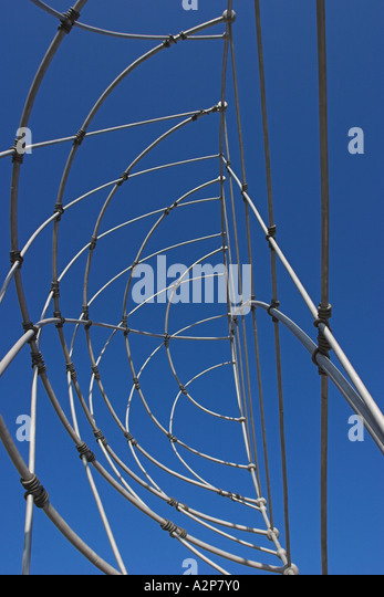 A metal sculpture at the J. Paul Getty Center in Los Angeles, CA. - Stock Image