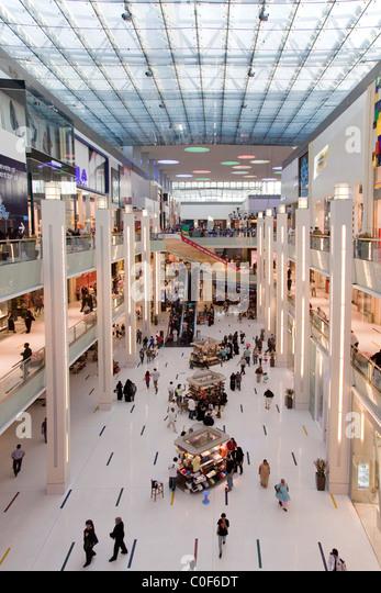 Dubai Mall next to Burj Khalifa , biggest shopping mall in the world with more than 1200 shops, Dubai, UAE - Stock Image