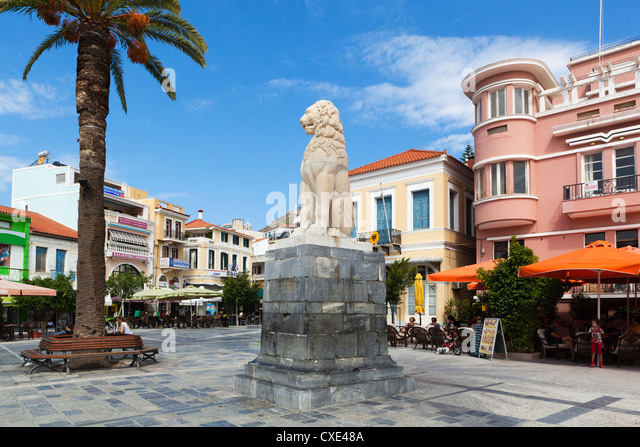 Lion Square, Samos Town, Samos, Aegean Islands, Greece - Stock Image