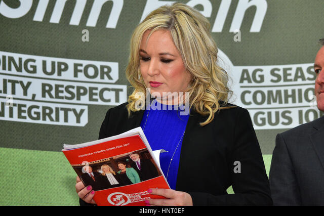 Armagh City, UK. 15th February 2017. Sinn Féin Party leader Michelle O'Neill during the 2017 Manifesto - Stock Image