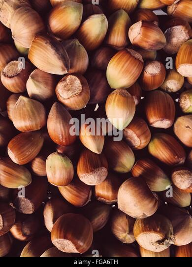 Full Frame Shot Of Hazelnuts - Stock-Bilder