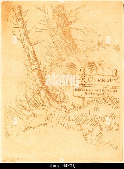 Alphonse Legros, Address of R. Gueraut (Adresse de M.R. Gueraut), French, 1837-1911, etching in brown - Stock-Bilder