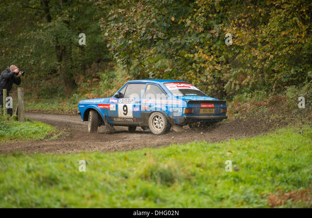 Duncombe Park, North Yorkshire, UK . 09th Nov, 2013. UK RAC Rally Duncombe Park Special Stage 9. Alan McDowall and - Stock Image