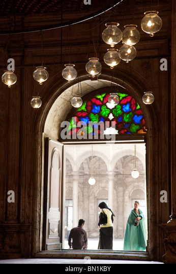 A views from inside the Mosque of Muhammad Ali Pasha, The Citadel, Cairo, Egypt - Stock Image