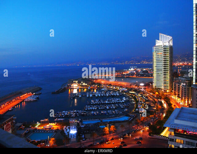 Beirut at night - Stock Image