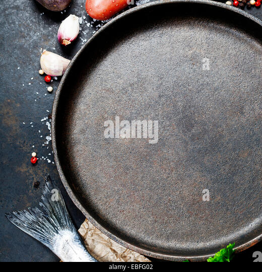 Food background with Fish and Vegetables. Lots of copy space - Stock Image
