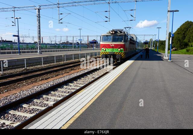 train arriving at Kouvola station, Finland - Stock Image