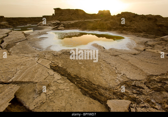 Photograph of the sinkholes of the Dead sea - Stock Image
