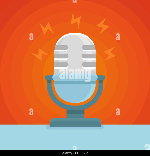 Podcast icon in flat icon - microphone and sound concept - Stock-Bilder