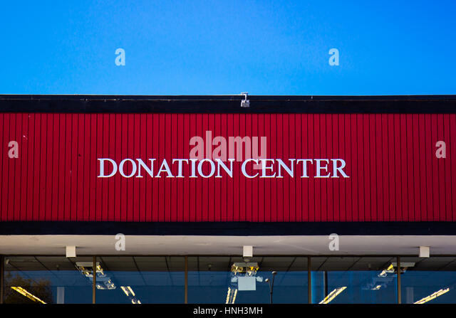 Donation Center Sign At Thrift Store - Stock Image
