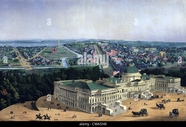 Washington D.C. and U.S. Capitol, looking west toward the Mall and Pennsylvania Avenue, 1856.  During this decade - Stock Image