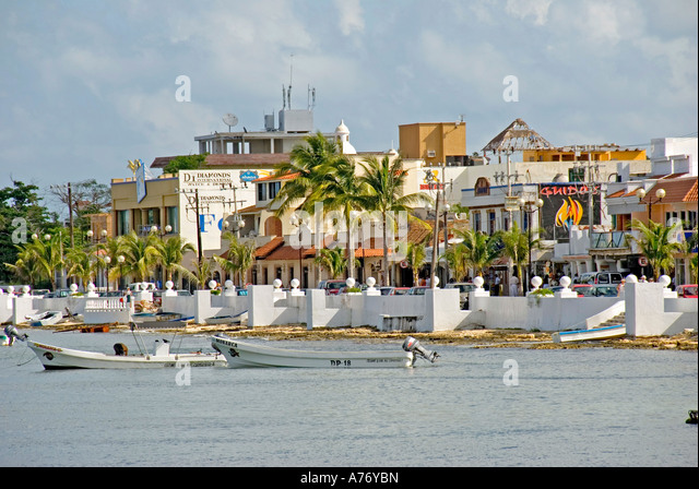 Cozumel Mexico San Miguel town malecon skyline - Stock Image