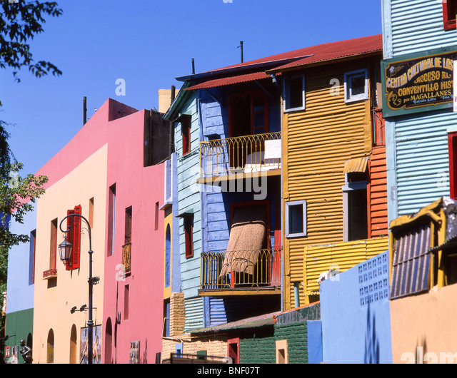 Pastel-coloured buildings, Caminito Street, La Boca, Buenos Aires, Argentina - Stock Image