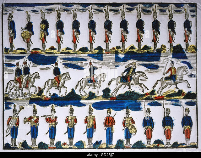 toys, cut out soldiers, coloured woodcut, pictorial broadsheet, published by Reymondini, Bassano, Italy, um 1830, - Stock-Bilder