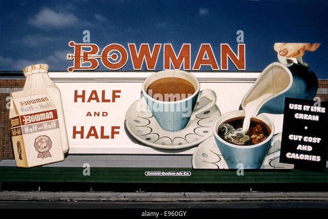 Billboard advertising Bowman half and half circa 1950s - Stock Image