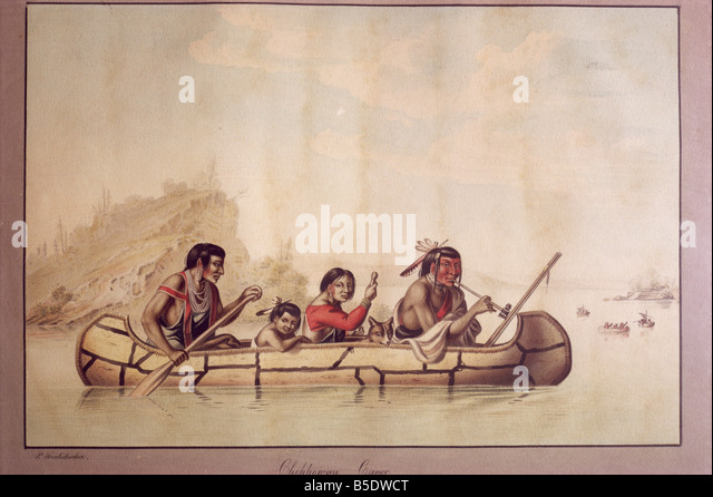 Chippewa Canoe by P Rindisbacher West Point Museum United States of America North America - Stock Image