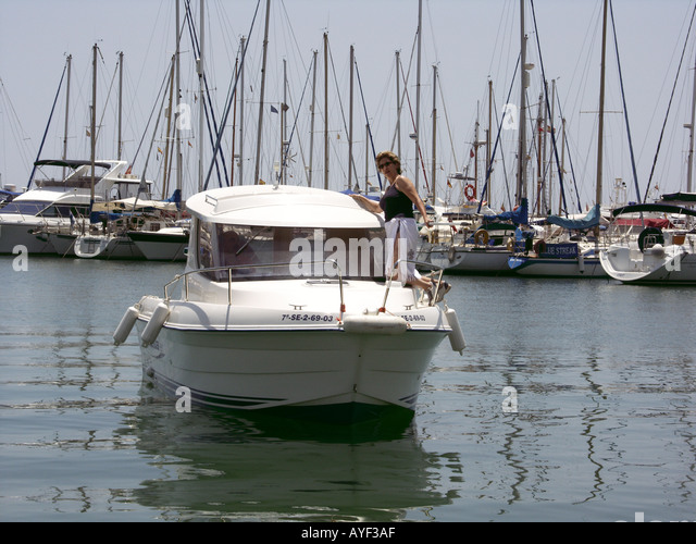 Yachts and pleasure boats at  Fuengirola, Costa del Sol, Spain, Europe, sail sails sailing yacht yachts pleasure - Stock Image