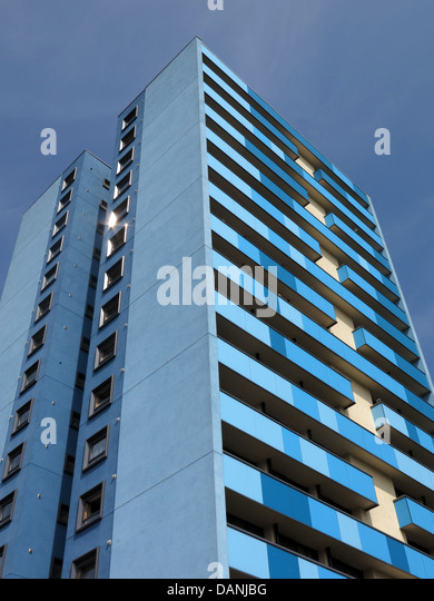 Large residential city tower blocks West Midlands near Wolverhampton England UK - painted blue and Teal - Stock Image