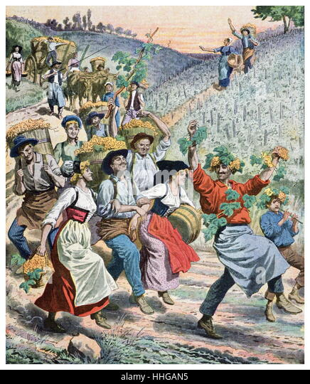 Illustration showing the wine festival and grape harvest in Alsace France 1911 - Stock Image