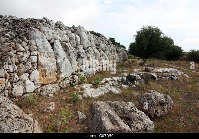 Cyclopean Wall Ruins - Son Catlar - Minorca - Stock Image