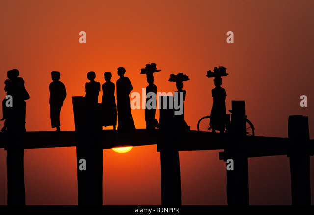 Myanmar (Burma), Mandalay Division, Amarapura old city, U Bein Bridge - Stock-Bilder