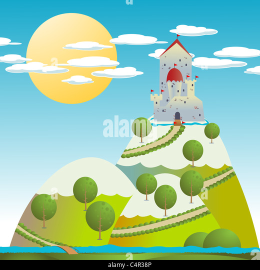 Cartoon background with a medieval castle - Stock Image